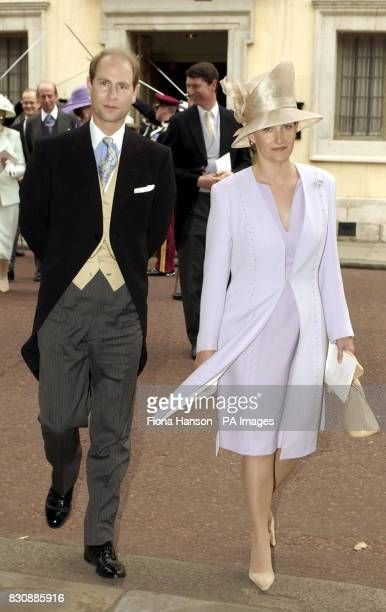 The Earl and Countess of Wessex attend the marriage of the son of the Duke and Duchess of Gloucester the Earl of Ulster Alexander Windsor to Doctor...