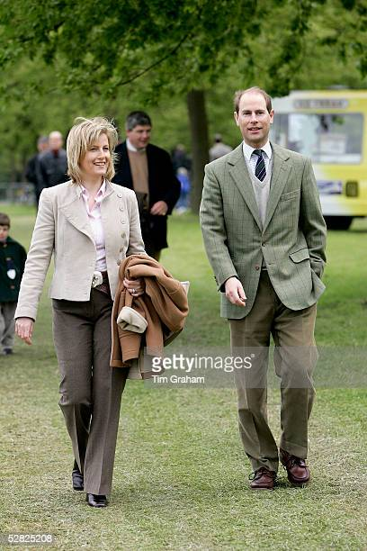 The Earl and Countess of Wessex attend the third day of the Royal Windsor Horse Show in the grounds of Windsor Castle on May 14 2005 in Windsor...