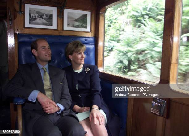 The Earl and Countess of Wessex during a twoday tour of The Isle of Mantaking a trip on the 116yearold recommissioned steam engine The Caledonia from...
