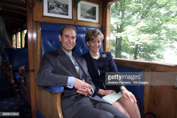 The Earl and Countess of Wessex during a twoday tour of The Isle of Man taking a trip on the 116yearold recommissioned steam engine The Caledonia...