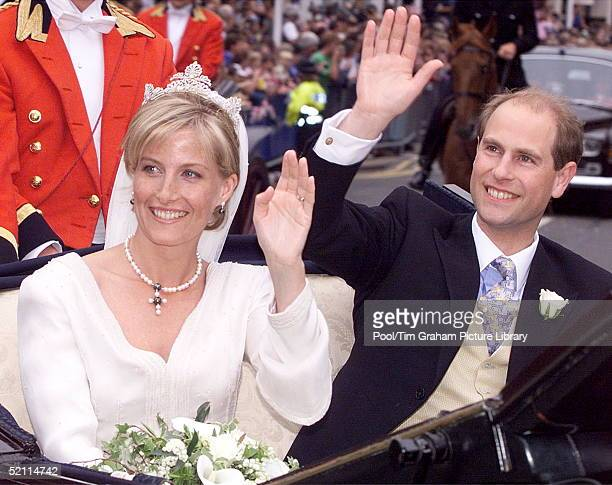 The Earl And Countess Of Wessex [prince Edward And Sophie Rhysjones] In A Carriage Procession Around Windsor Following Their Wedding In St George's...