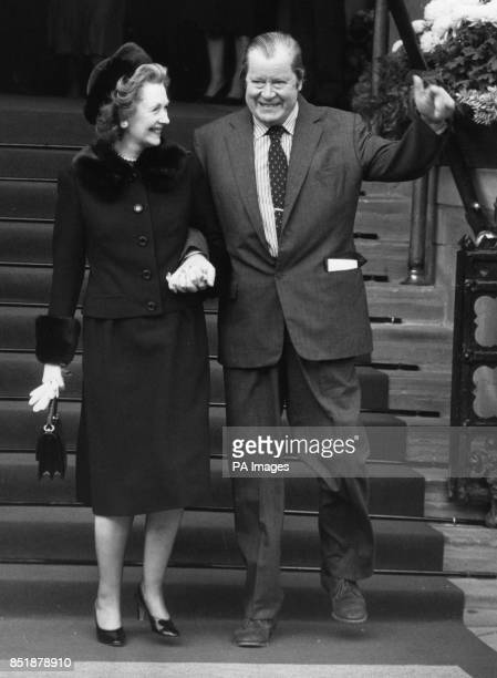 The Earl and Countess Spencer Prince Charles's parentsinlaw leaving Northampton Guildhall after lunch there with the Queen They later entertained her...
