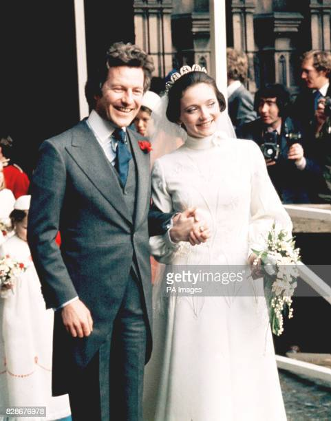 The Earl and his bride leaving after the ceremony at Chester Cathedral