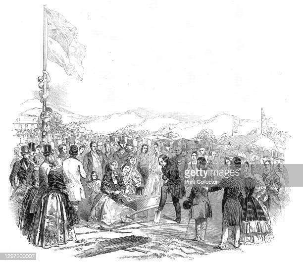 The Earl of Bandon cutting the first turf for the Cork and Bandon Railway, 1845. James Bernard, 2nd Earl of Bandon, takes part in a ceremony marking...
