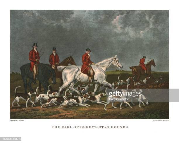 The Earl of Derby's Stag Hounds' early 19th century Hunting scene dogs belonging to Edward SmithStanley 12th Earl of Derby after James Barenger...