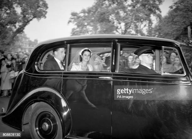 The Earl of Harewood and his bride Marion Stein driving from St Mark's Church London to St James's Palace for the reception