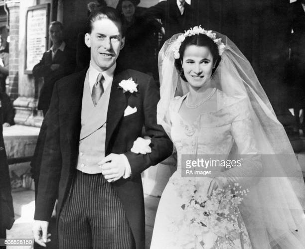 The Earl of Harewood son of the Princess Royal and nephew of King George VI with his bride Marion Stein after their wedding at St Mark's Church London