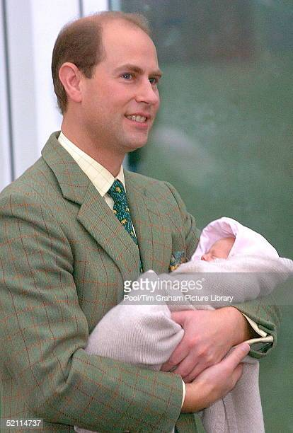 The Earl Of Wessex As Proud Father Leaving Frimley Park Hospital Holding His Baby Daughter Lady Louise Windsor