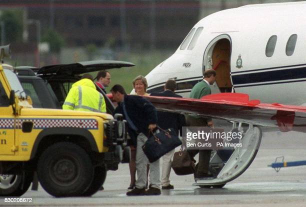 The Earl of Wessex boards a plane at Aberdeen Airport at Aberdeen Airport after departing from his honeymoon retreat at Birkhall Scotland with his...