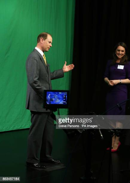 The Earl of Wessex learns how to present the weather with ITV's Laura Tobin and students of the Department of Meteorology during a visit to the...