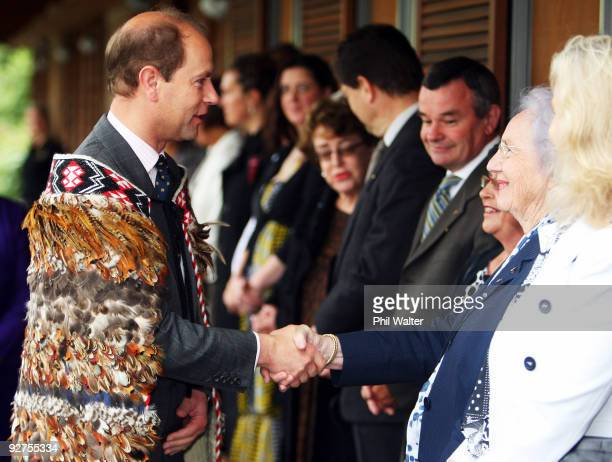 HRH The Earl of Wessex Prince Edward meets Lady June Hillary at the Villa Maria Estate Vineyard on November 5 2009 in Auckland New Zealand HRH The...