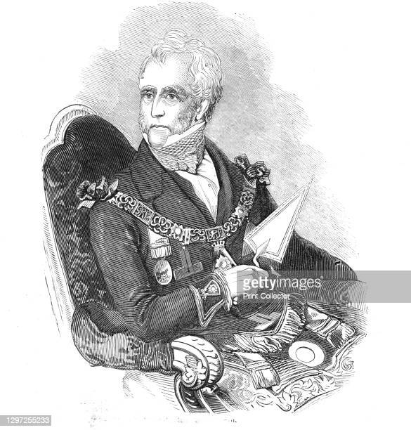 The Earl of Zetland, 1844. Portrait of Thomas Dundas, 2nd Earl of Zetland, Grand Master of the Freemasons of England, holding the silver trowel with...