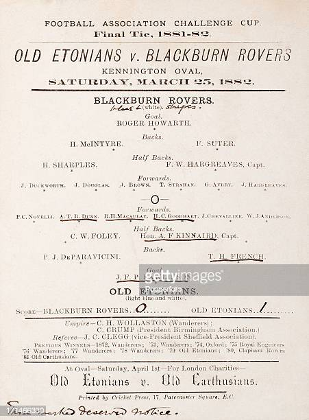 The earliest known surviving English FA Cup final programme or match card for the match between Old Etonians and Blackburn Rovers played at the...