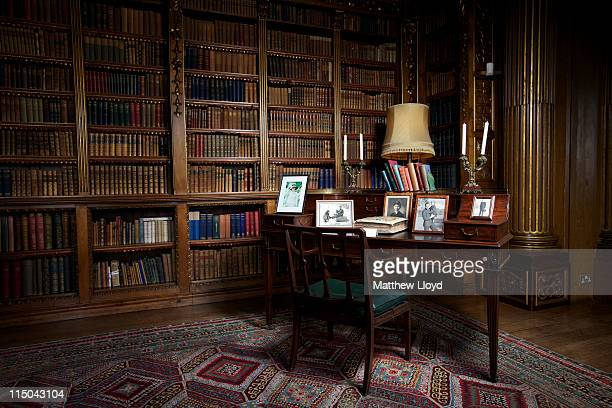 The Earl's desk is displayed in the library in Highclere Castle on March 15 2011 in Newbury England Highclere Castle has been the ancestral home of...