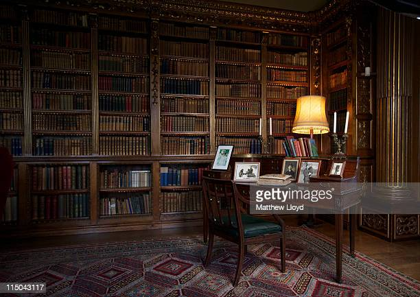 The Earl's desk is displayed in the library in Highclere Castle on March 15, 2011 in Newbury, England. Highclere Castle has been the ancestral home...