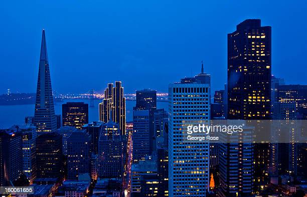 The early morning skyline is viewed from the Fairmont Nob Hill Hotel on December 22 in San Francisco California Despite cold and rainy weather San...