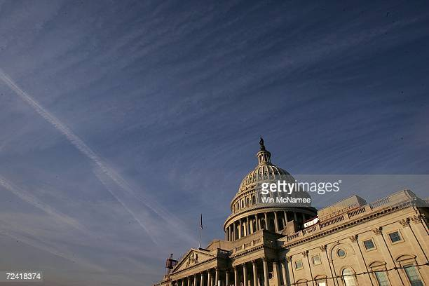 The early morning sun strikes the U.S. Capitol November 6, 2006 in Washington, DC. Midterm elections take place November 7, potentially changing the...