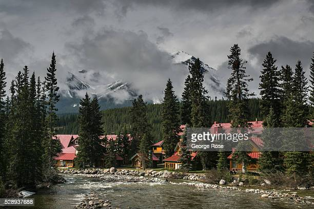 The early snow melt is filling the rivers and creeks as viewed on April 23 2016 at Lake Louise Alberta Canada Banff is Canada's oldest National Park...