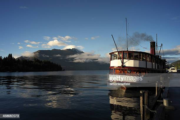 the earnslaw & lake wakatipu - ship funnel stock photos and pictures
