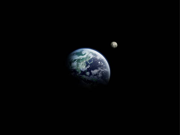The Earth And The Moon, Computer Graphic, Black Background, Copy Space Wall Art
