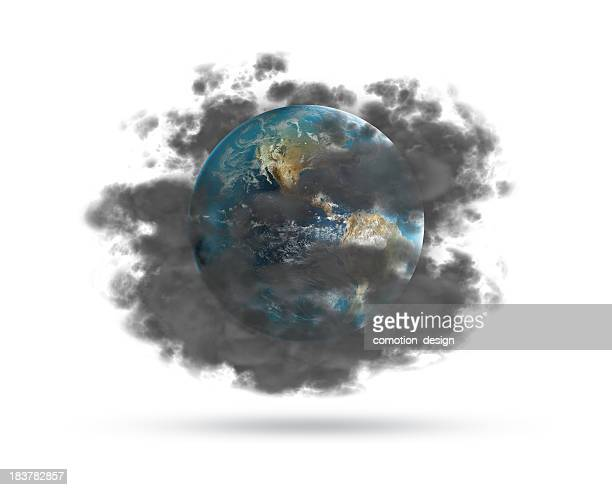 the earth hidden behind a cloud of pollution - air pollution stock pictures, royalty-free photos & images