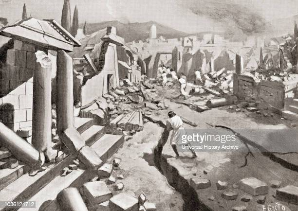 The earthquake at Sparta ancient Greece 464 BC From Hutchinson's History of the Nations published 1915