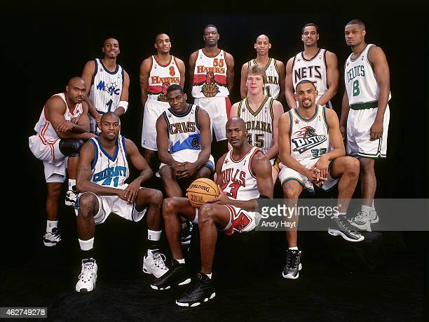 The East All Stars poses for a portrait prior to NBA AllStar Game on February 8 1998 at Madison Square Garden in New York City NOTE TO USER User...
