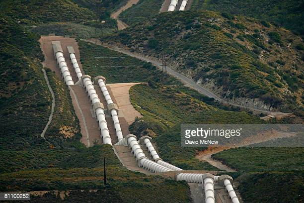 The east branch of the California Aqueduct which imports water from the Sierra Nevada Mountains crosses the San Andreas Rift Zone the system of...