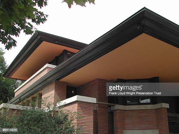 The east cantilever and south bedroom cantilever postrestoration the soffits have been replastered and painted their original color Chicago Illinois...