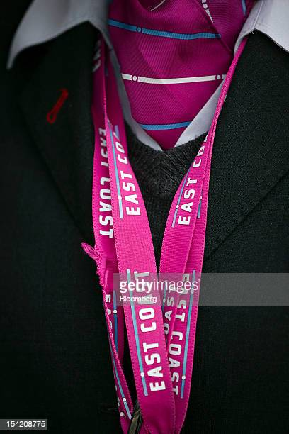 The East Coast logo sits on lanyards worn by an East Coast Main Line Company Ltd employee a subsidiary of Directly Operated Railways Ltd at...