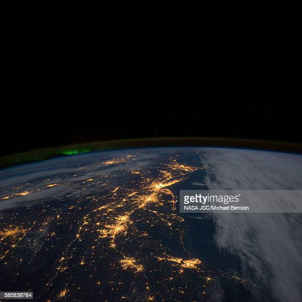 The East Coast of the United States at night.