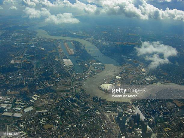 The East end of London, the River Thames and the o2 dome