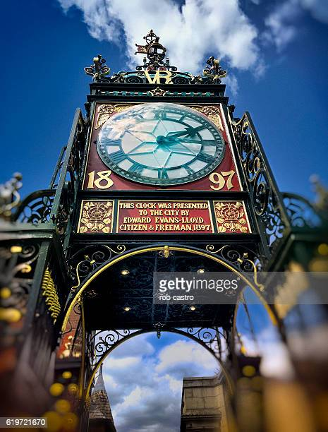 the east gate clock in chester, england - rob castro stock pictures, royalty-free photos & images