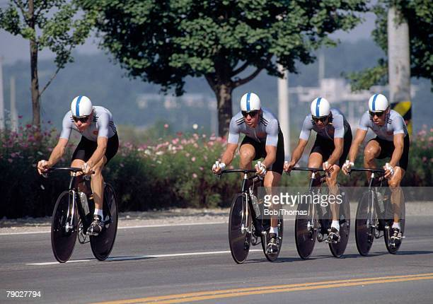 The East Germany road race cycling team, comprising Uwe Ampler, Jan Schur, Maik Landsmann and Mario Kummer compete to win the gold medal in the Men's...
