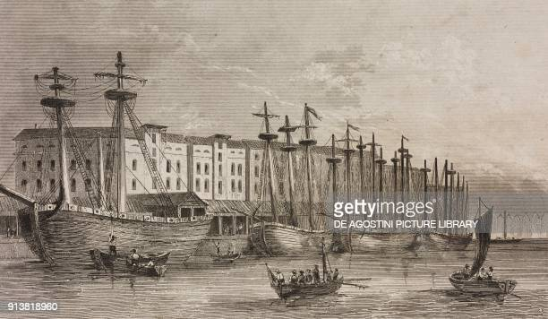 The East India Company docks on the Thames river London England United Kingdom engraving by Lemaitre from Angleterre Ecosse et Irlande Volume IV by...