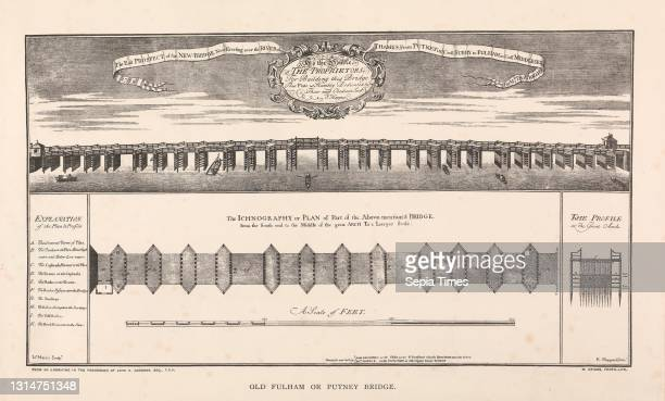 The East Prospect of the New Bridge now erecting over the River of Thames, from Putney in County Surrey to Fulham in County Middlesex, John Harris,...