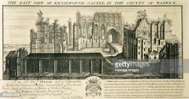 The East View of Kenilworth Castle in the County of Warwick' 1729 Founded in around 1124 by Geoffrey de Clinton and constructed from Norman through...