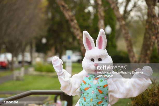 The Easter Bunny waves at cars at the Reading Public Museum on Friday April 10 2020 Cars were lined up to pay a donation in exchange for Easter...