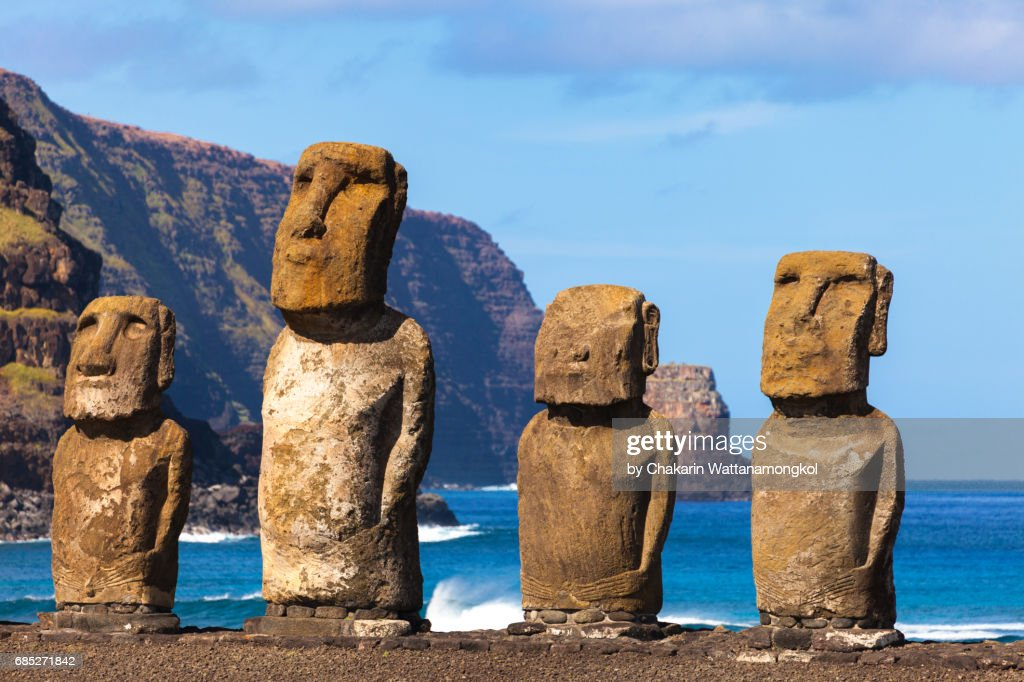 The Easter Island Moi at Ahu Tongariki : Stock Photo