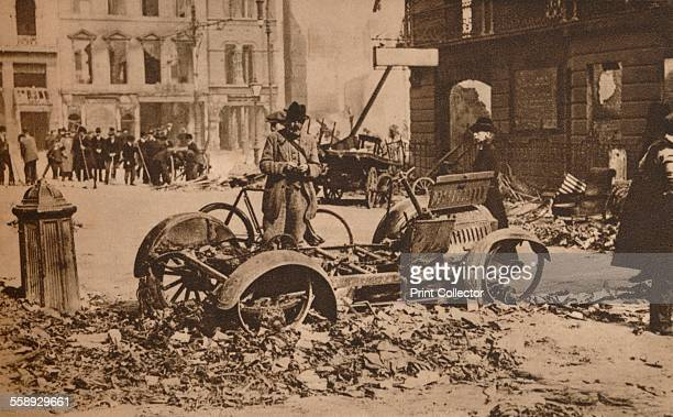 The Easter Rising Ireland 1916 Barricades of motor cars placed across Dublin streets to break up rebel attacks and to afford cover From The Royal...