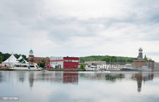 the eastern bank of trent river at small town campbellford, ontario,  canada - severn river stock pictures, royalty-free photos & images