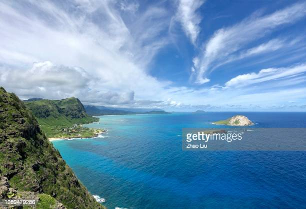 the eastern coast line of oahu island, hawaii, usa - east stock pictures, royalty-free photos & images