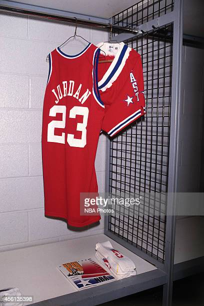 The Eastern Conference AllStar jersey of Michael Jordan during the 1989 NBA AllStar Game at the Houston Astrodome on February 12 1989 in Houston...