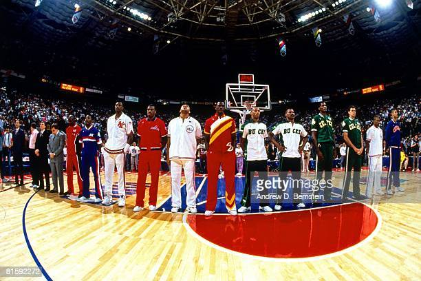 The Eastern Conference AllStar team stands for the national anthem prior to the 1991 NBA All Star Game on February 10 1991 at the Charlotte Coliseum...
