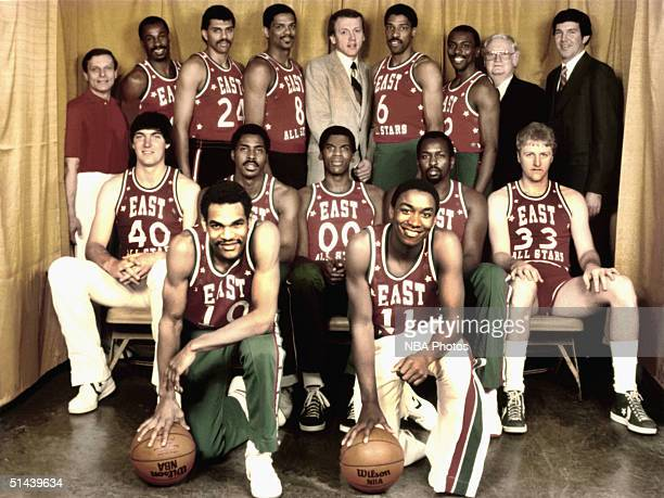 The Eastern Conference AllStars pose for a team photo from the front row Maurice Lucas Isiah Thomas Middle Row Bill Laimbeer Buck Williams Robert...