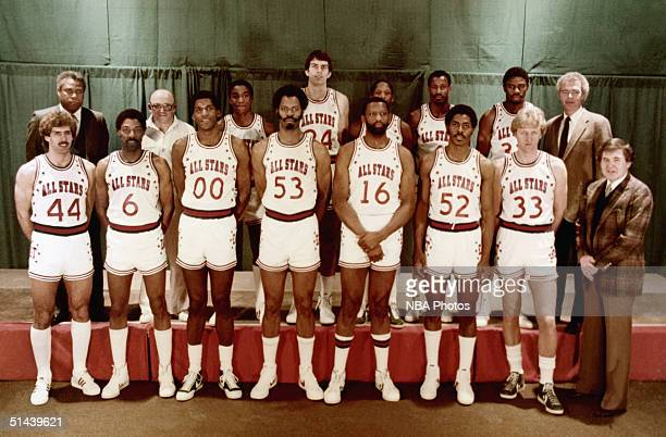 The Eastern Conference AllStars pose for a team photo front row Kelly Tripucka Julius Erving Robert Parish Artis Gilmore Bob Lanier Buck Williams...
