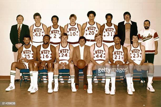 The Eastern Conference AllStars pose for a team photo front row George Gervin Rudy Tomjanovich Elvin Hayes Head Coach Gene Shue Julius Erving George...