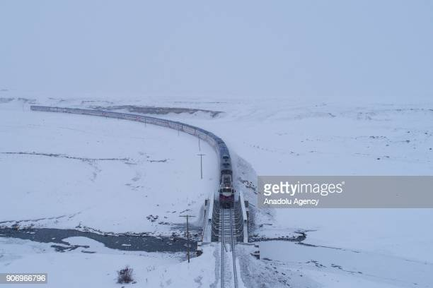 The Eastern Express which travels from Ankara to Kars passes through a bridge in Kars Turkey on January 13 2018 With the starting of winter season...