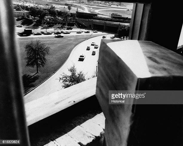 The eastern face of the Texas School Book Depository in Dallas Texas Included as an exhibit for the Warren Commission Ca November 1963
