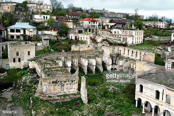 The eastern part of the town of Shushi, which was completely destroyed during the war, is seen May 4, 2004 in Nagorno-Karabakh, Azerbaijan. Shushi is...